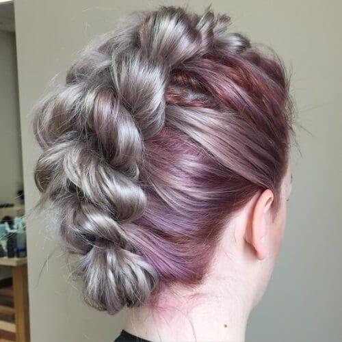 ombre grape gray braided mohawk