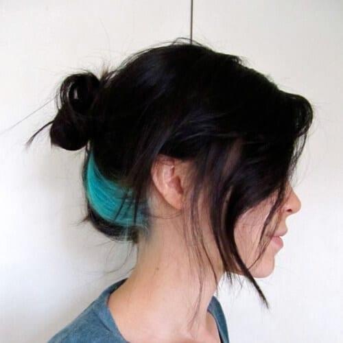 one streak turquoise peekaboo highlights