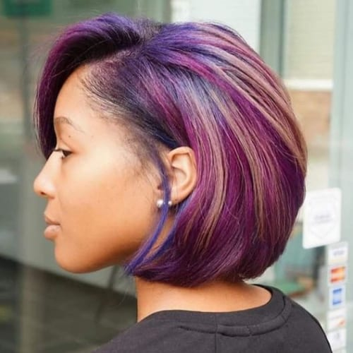 purple bob hairstyles for black women