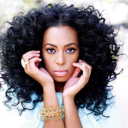 solange knowles long curly hairstyles