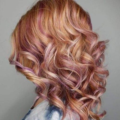 strawberry blonde rose gold peekabo highlights