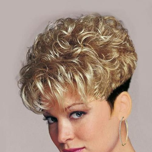 Permed wedge curly pixie cut