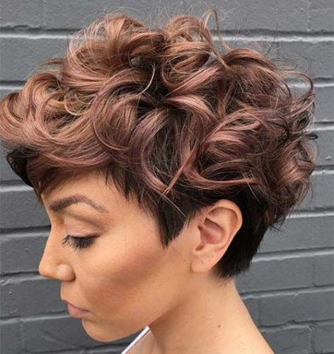 Rose Gold Curly Pixie Haircut
