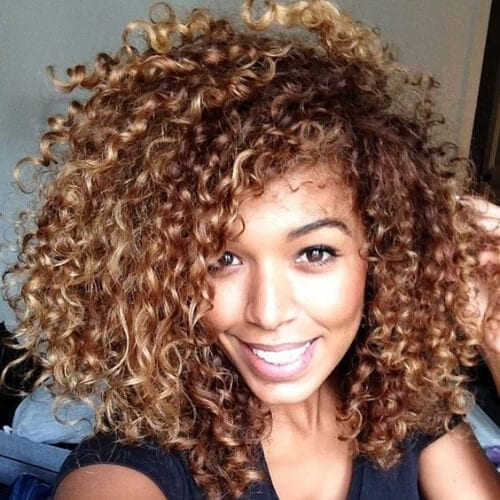 afro honey brown hair