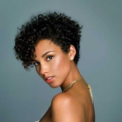 alicia keys curly pixie cut