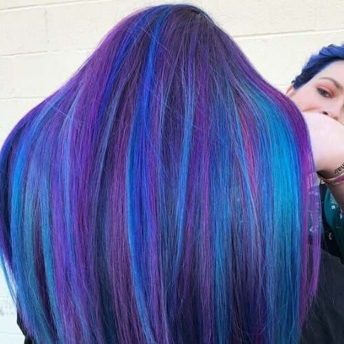 blue and purple hairstyles for straight hair