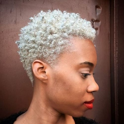 chalk white curly pixie cut