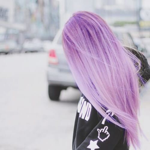 dusty purple hairstyles for straight hair