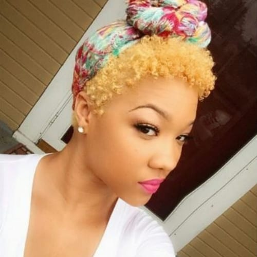 hair scarf curly pixie cut