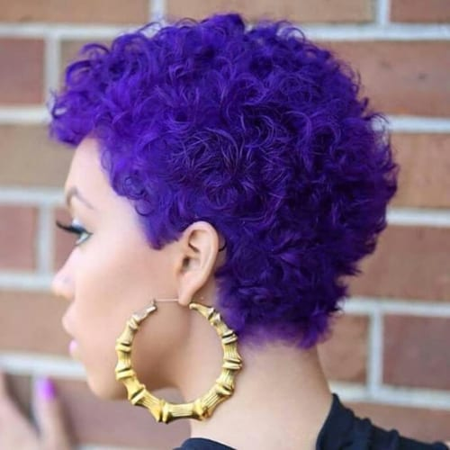 indigo curly pixie cut
