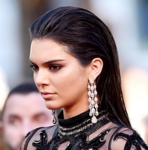 kendall jenner wet, slicked back hair look hairstyles for straight hair