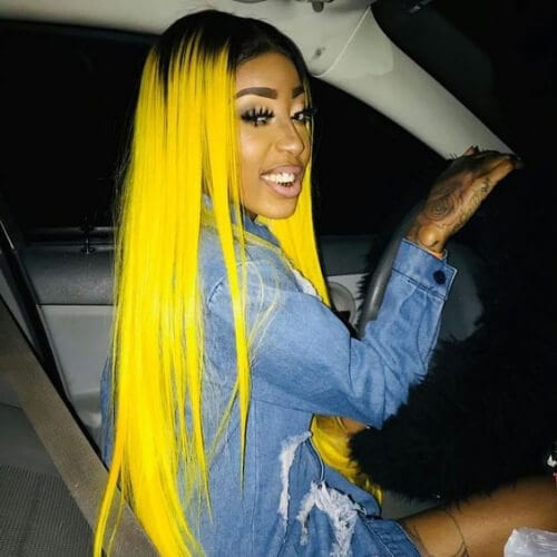 lemon yellow hairstyles for straight hair
