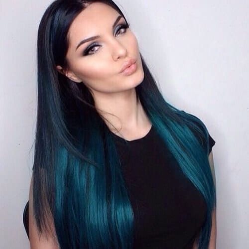metallic teal hairstyles for straight hair