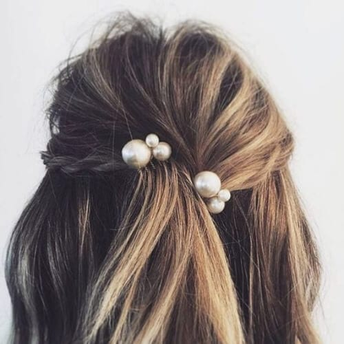 pearls bobby pins hairstyles for straight hair