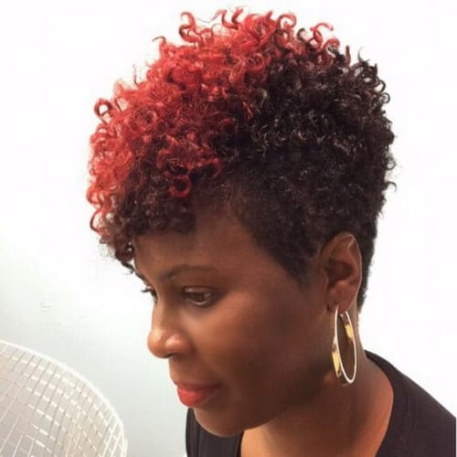 red stripe curly pixie cut