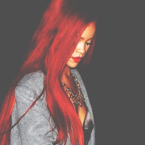 rihanna red hairstyles for straight hair
