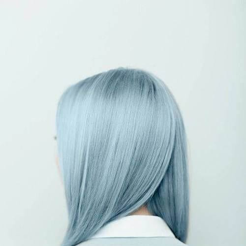 silver blue hairstyles for straight hair