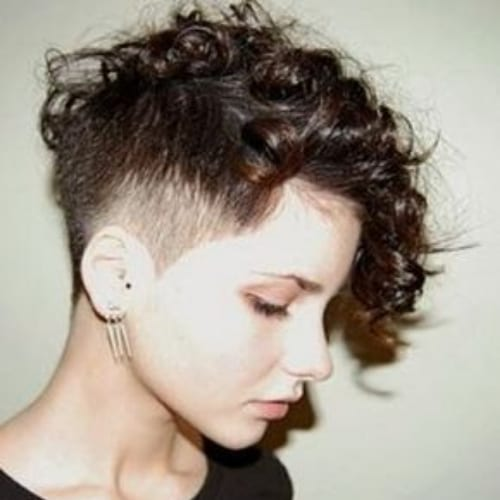 temple fade curly pixie cut
