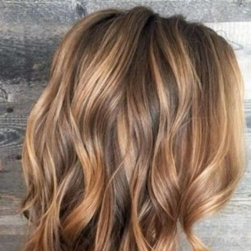 wavy bob honey brown hair