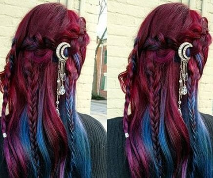 Purple to blue braided ombre hair braid hairstyles for long hair