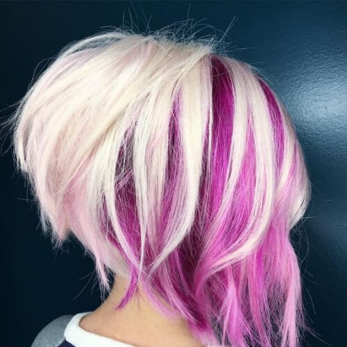 Stacked bob with pink and blonde short hair with highlights