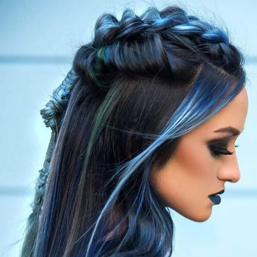 blue braid hairstyles for long hair