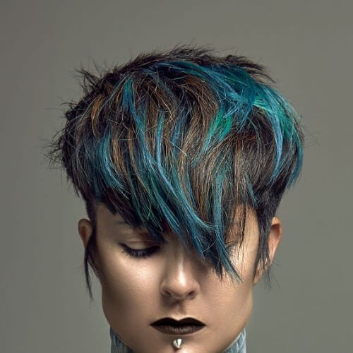 blue green short hair with highlights
