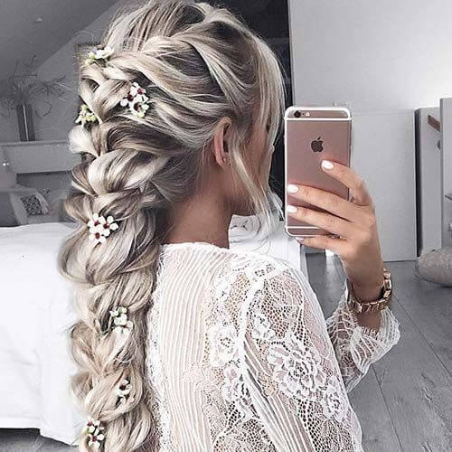 cherry flowers braid hairstyles for long hair