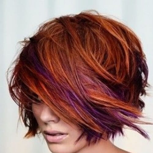 copper and purple short hair with highlights