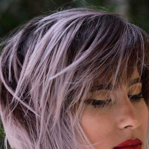 dusty pink stacked bob short hair with highlights