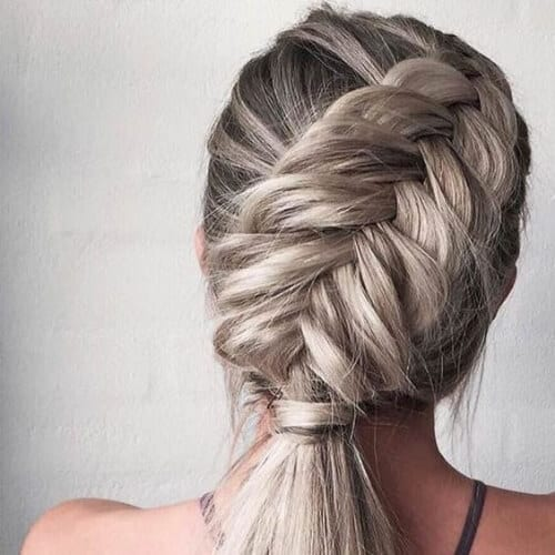 fishbone braid blonde hairstyles