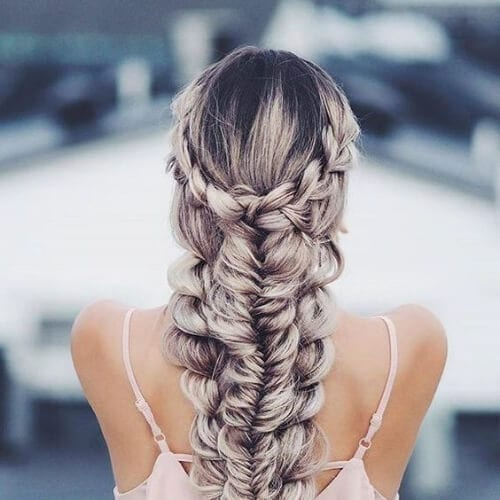 fishtail into another braid hairstyles for long hair