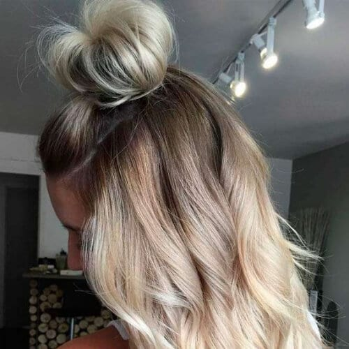 half up half down blonde hairstyles