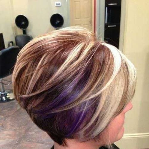 indigo and blonde short hair with highlights