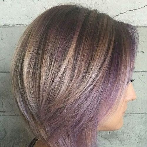 lilac short hair with highlights