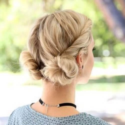low space buns blonde hairstyles