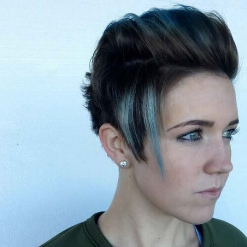 matte gray short hair with highlights