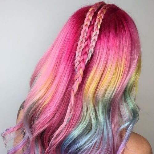 middle colorful braid hairstyles for long hair