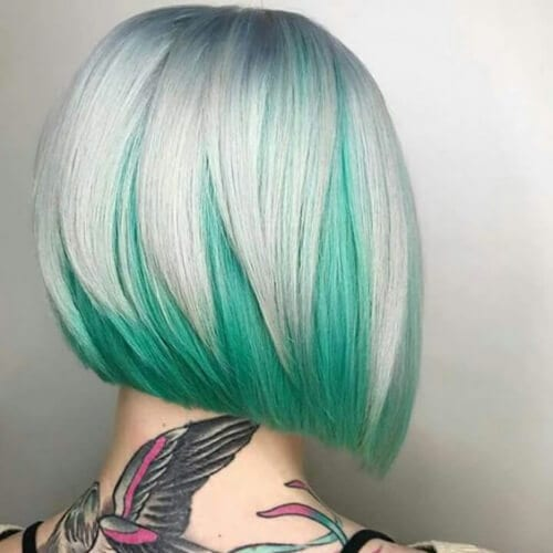 mint green short hair with highlights