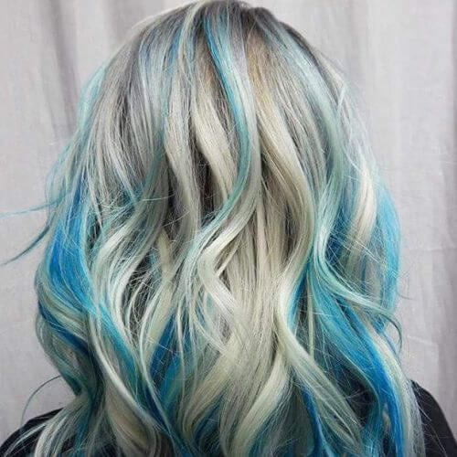 pastel blue on platinum blonde high highlights and lowlights