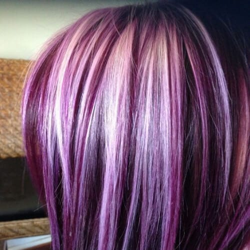 platinum on purple high highlights and lowlights
