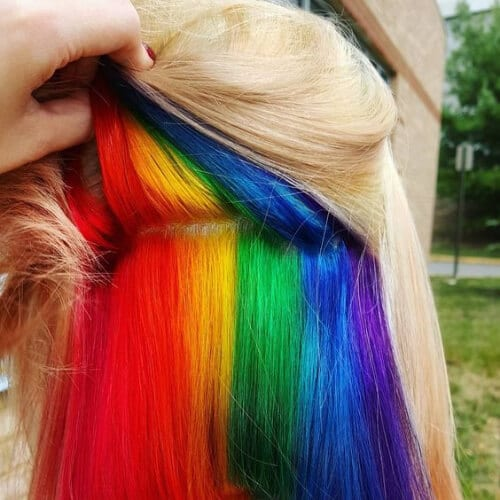 rainbow short hair with highlights