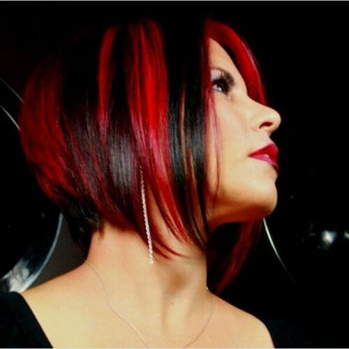 red black short hair with highlights