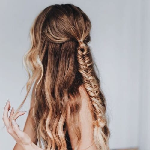 simple fishtail braid hairstyles for long hair
