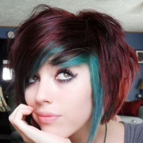 teal short hair with highlights