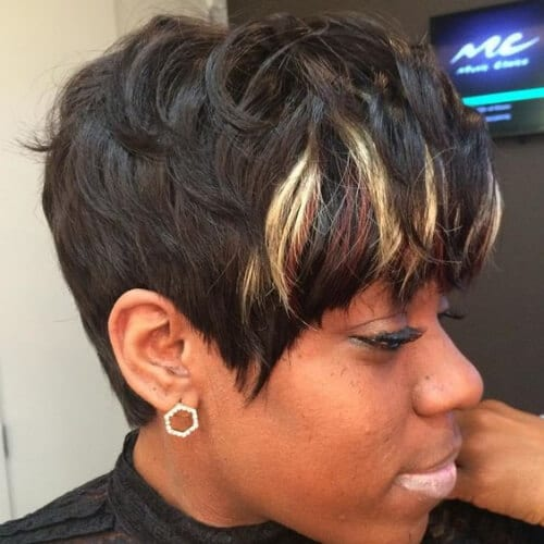 weave short hair with highlights