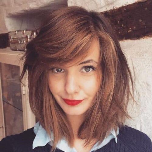 Wind-Swept Medium Chestnut Hair color