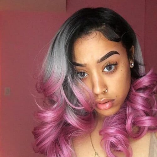 gray and pink haircuts for thick hair