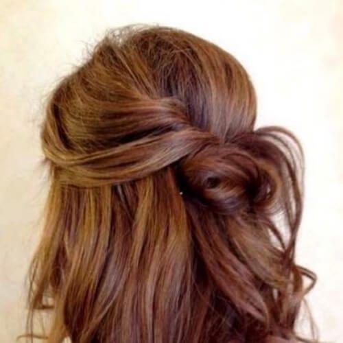 half up half down chestnut hair color