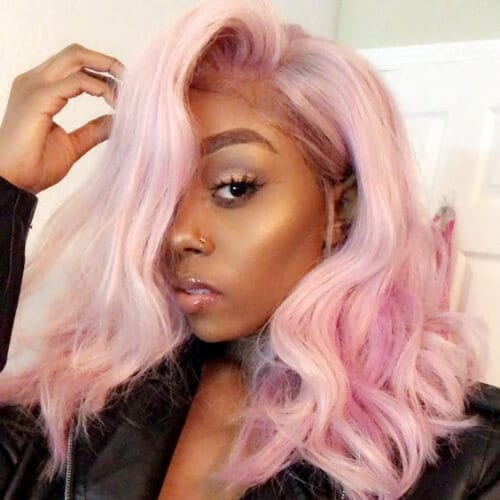 pink haircuts for thick hair